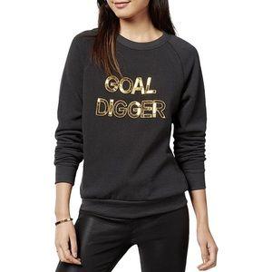 NWT Bow & Drape Goal Digger Sequin Sweatshirt Blk